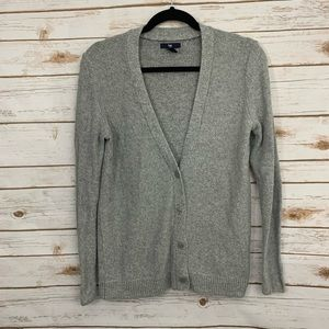 Gap Silver Metallic Holiday Button Front Cardigan